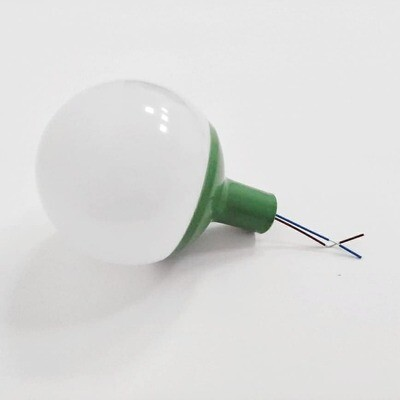 Плафон шар - диаметр 8см. Зеленый переходник на 16ю трубу с патроном в сборке