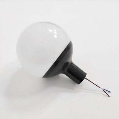 Плафон шар - диаметр 8см. Черный переходник на 16ю трубу с патроном в сборке