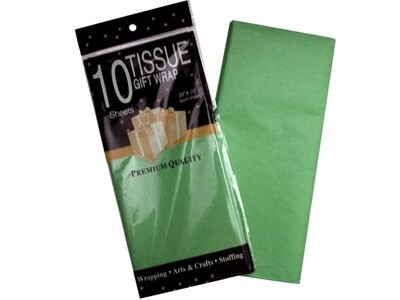 Бумага тишью 50*66 см 10 шт. зелёная 355