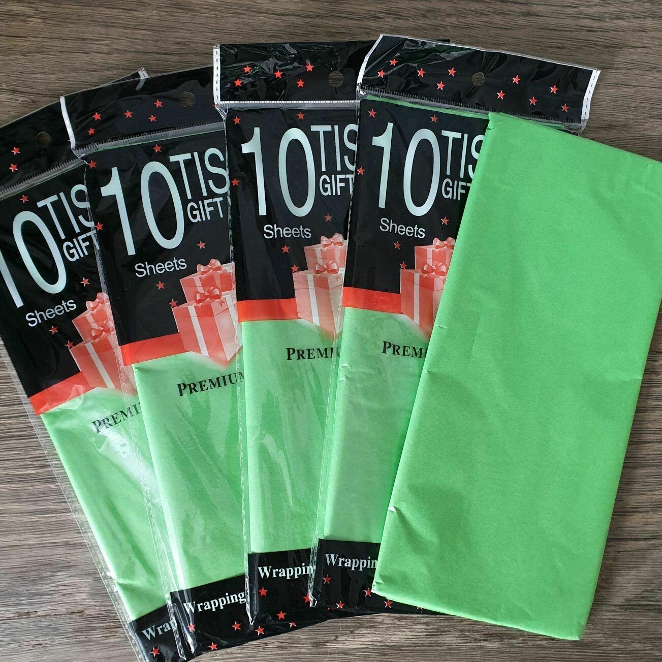 Бумага тишью 50*66 см 10 шт. зелёная 360