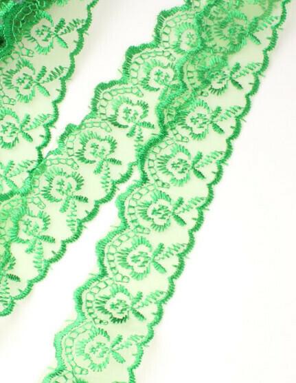 Кружево на органзе 4 см*10 ярдов зелёное