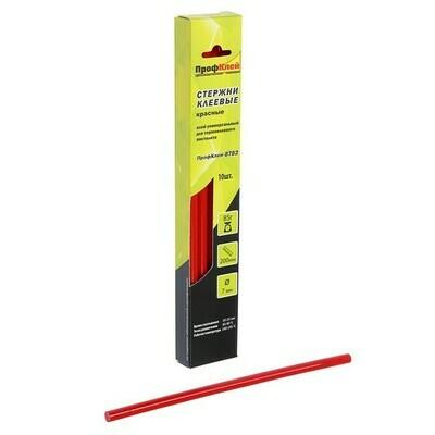 """Стержни клеевые """"ПрофКлей"""" 8782, универсальные, красные, 7х200 мм, 10 шт."""
