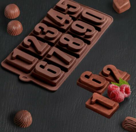 Форма для льда и шоколада Доляна «Цифры», 20×11 см, 10 ячеек, цвет шоколадный