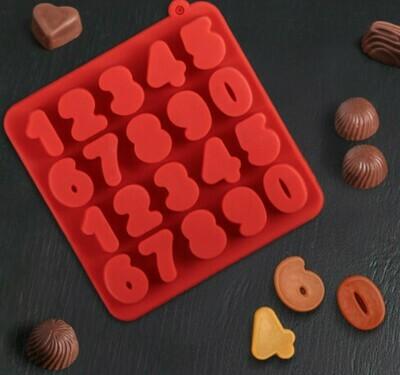 Форма для льда и шоколада Доляна «Цифры», 16×16×2 см, 20 ячеек