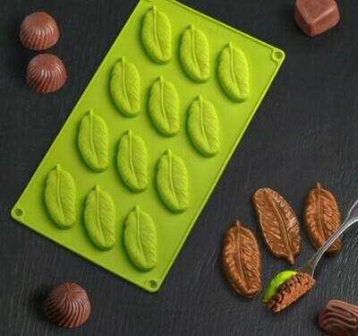 Форма для льда и шоколада Доляна «Декор. Перо», 29×17 см, 12 ячеек