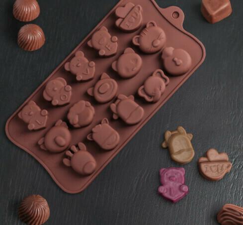 Форма для льда и шоколада Доляна «Животные. Любовь», 20,6×10,5×1,4 см, 15 ячеек