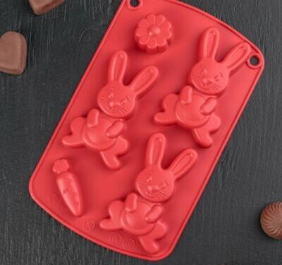 Форма для льда и шоколада Доляна «Пасхальный кролик», 21×13×2 см, 5 ячеек