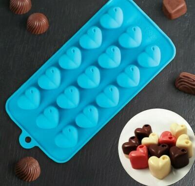 Форма для льда и шоколада Доляна «Сердечки», 20,5×10 см, 15 ячеек