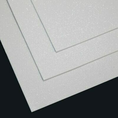 Белый Фоамиран глиттерный, толщина 1.5мм, лист 60x70см
