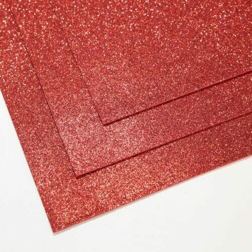 Красный Фоамиран глиттерный, толщина 1.5мм, лист 60x70см