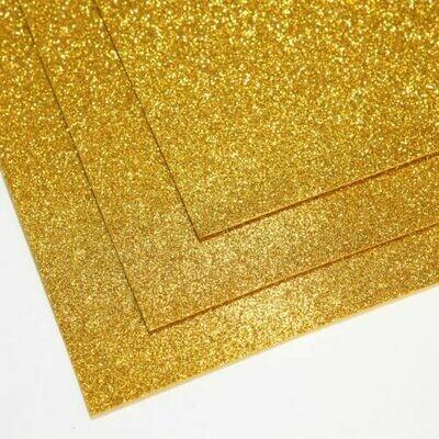 Желтое золото Фоамиран глиттерный, толщина 1.5мм, лист 60x70см