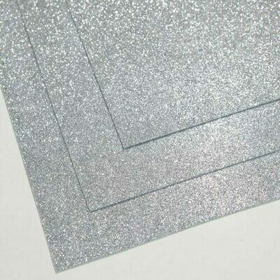 Светлое серебро Фоамиран глиттерный, толщина 1.5мм, лист 60x70см