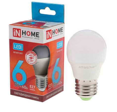 Лампа светодиодная IN HOME LED-ШАР-VC, Е27, 6 Вт, 230 В, 4000 К, 540 Лм