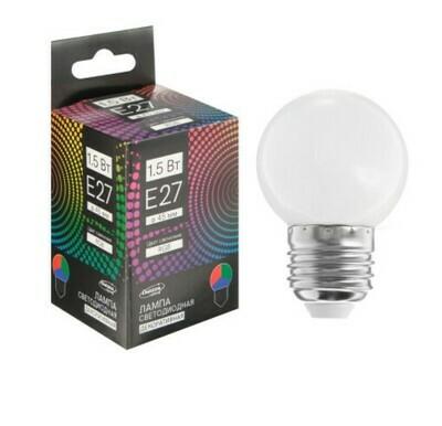 Лампа светодиодная Luazon Lighting, G45, Е27, 1,5 Вт, для белт-лайта, RGB, синхронная работа 50821