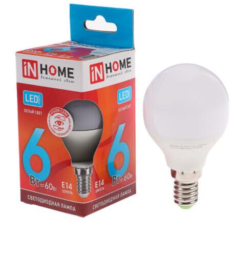 Лампа светодиодная IN HOME, Е14, 6 Вт, 540 Лм, 4000 К, дневной белый
