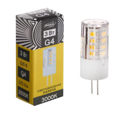 Лампа светодиодная Luazon Lighting G4, 220 В, 3 Вт, 270 Лм, 3000 K, 320°, пластик