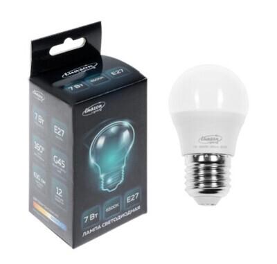 Лампа cветодиодная Luazon Lighting, G45, 7 Вт, E27, 630 Лм, 6500 К, холодный белый