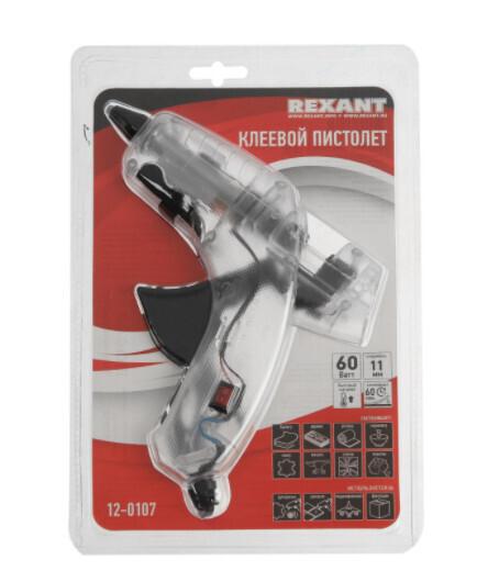 Клеевой пистолет REXANT 12-0107, 60 Вт, d=11 мм, прозрачный корпус, выключатель