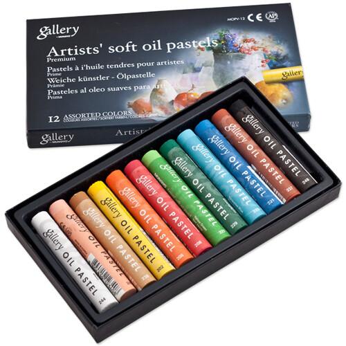 Пастель масляная Mungyo Gallery Soft Oil, мягкая профессиональная 12 цветов - круглая D11x70mm