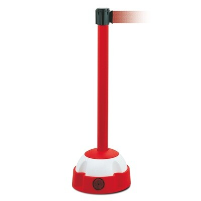 MORION riem afzetpaal, paal rood, riemkl. rood/wit, 985/60mm en L 4000mm.