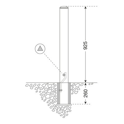 Stadspaal MILAN uitneembaar met driekantsleutel 76mm  Ø .