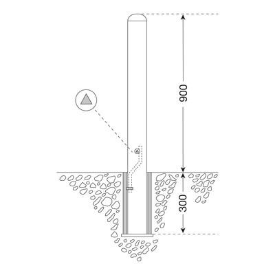 Edelstaalpaal BERLIN 60mm Ø, uitneembaar met driekantsleutel.