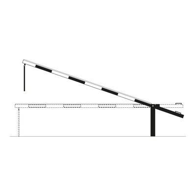 COMPACT slagboom met slingersteun te pluggen, 5000mm.