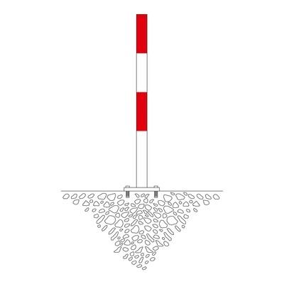 MORION afzetpaal 60mm Ø, rood/wit gecoat, 2 ogen