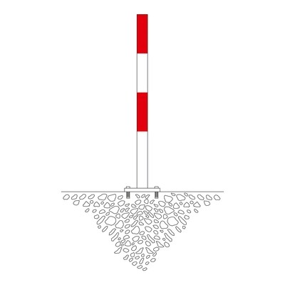 MORION afzetpaal 60mm Ø, rood/wit gelakt, 2 ogen