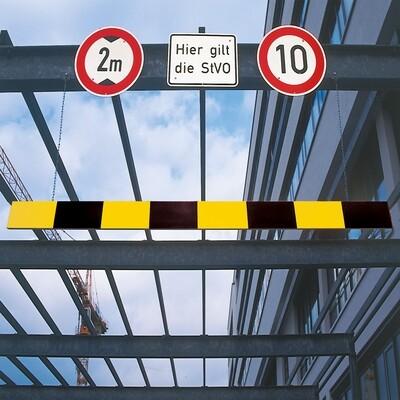 MORION hoogtebegrenzer aluminium, breedte 2500mm, zwart/geel.