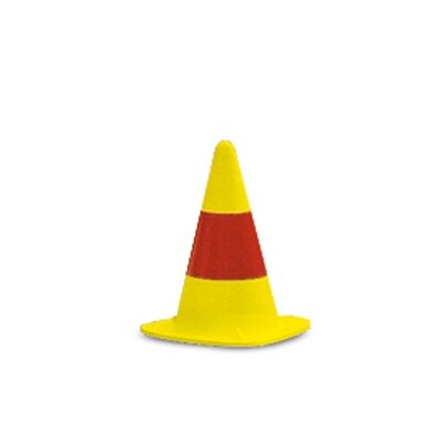 EUROPA verkeerskegel KOBOLD, geel met rode ring gelakt, H 330mm.
