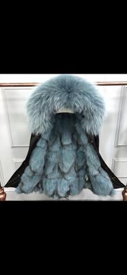Aqua Teal Blue Black Waterproof Parka ( Last One Remaining!) Size 10/12