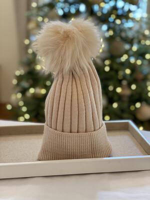 Cream Supersoft Wool/Cashmere Pompom Hat