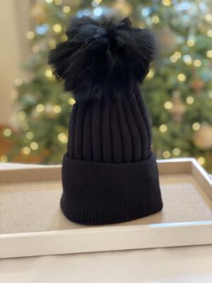 Black Supersoft Wool/Cashmere Pompom Hat
