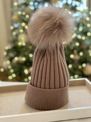 Cocoa Supersoft Wool/Cashmere Pompom Hat