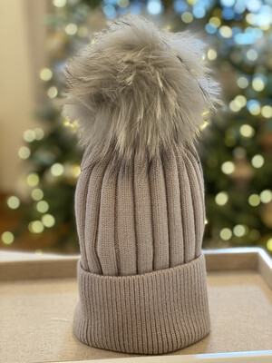 Light Grey Supersoft Wool/Cashmere PomPom Hat