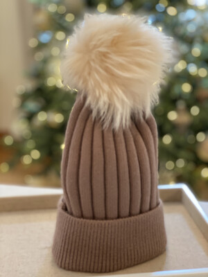 Cocoa and Cream Supersoft Wool/Cashmere Pompom Hat