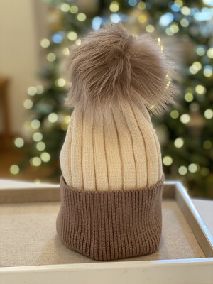 Cream And Cocoa Two-Tone Supersoft Wool/Cashmere Pompom Hat