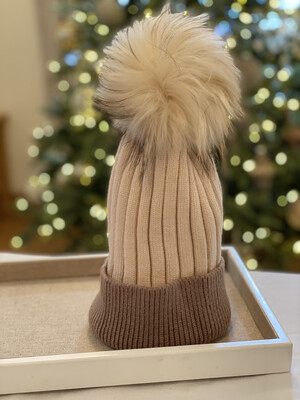 Cocoa Two-Tone Supersoft Wool/Cashmere Pompom Hat