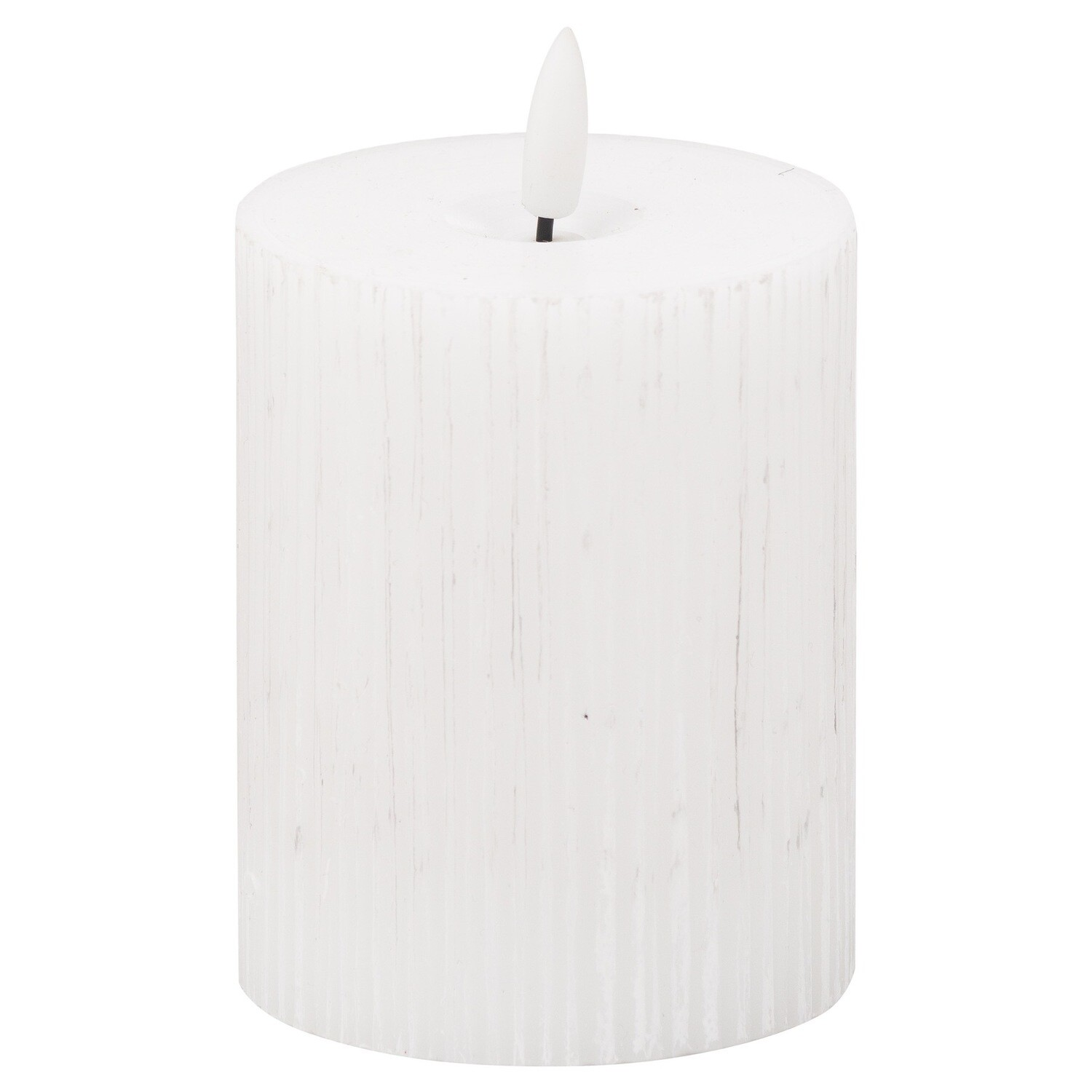 Luxe Collection LED White Ribbed Candle