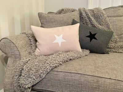 Oblong Felt Cushion with Star Embellishment