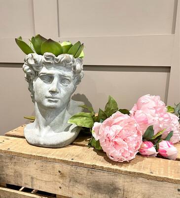 Small Stone David Head / Bust Planter