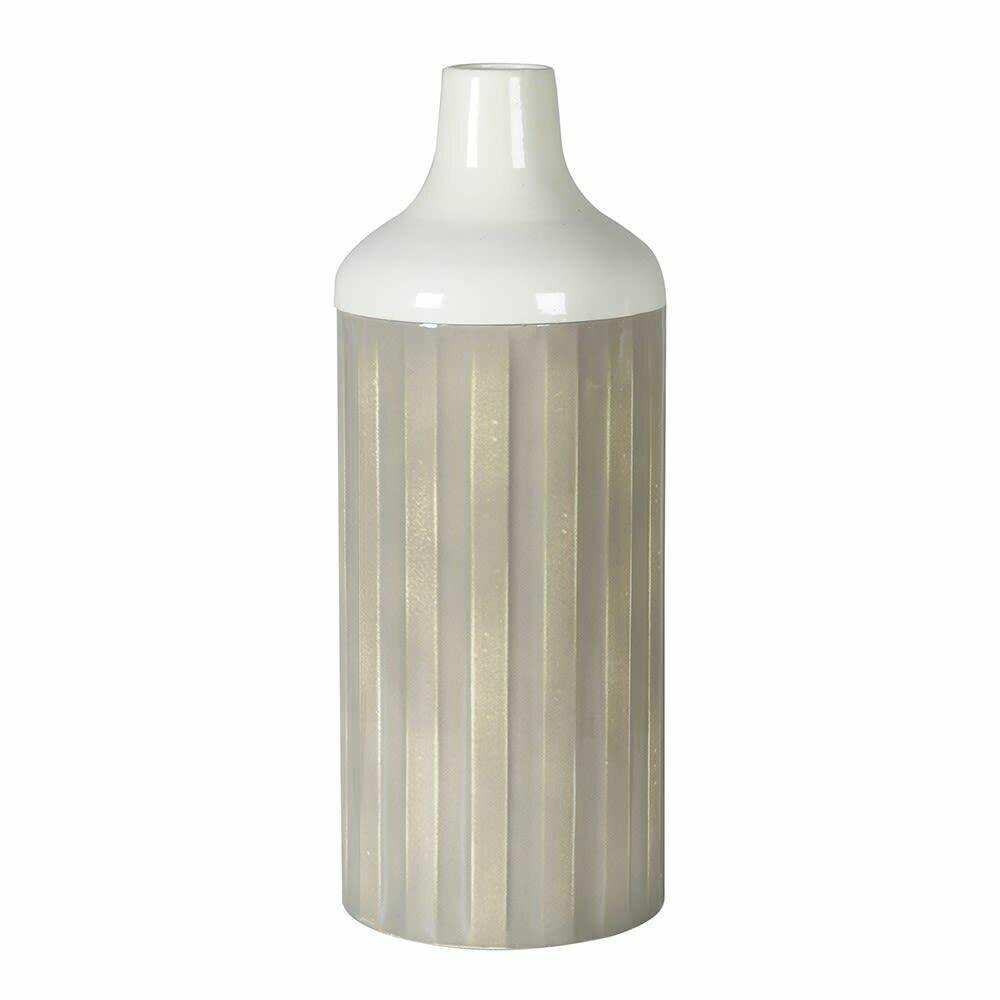 Tall Iron Ribbed Vase