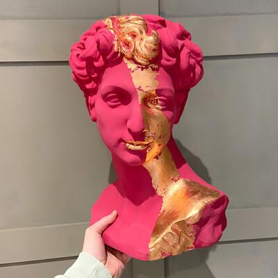 Bespoke Painted Stone Effect David Head / Bust Planter