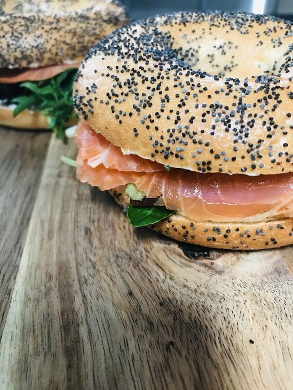 Smoked Salmon and Herbed Cream Cheese Bagel