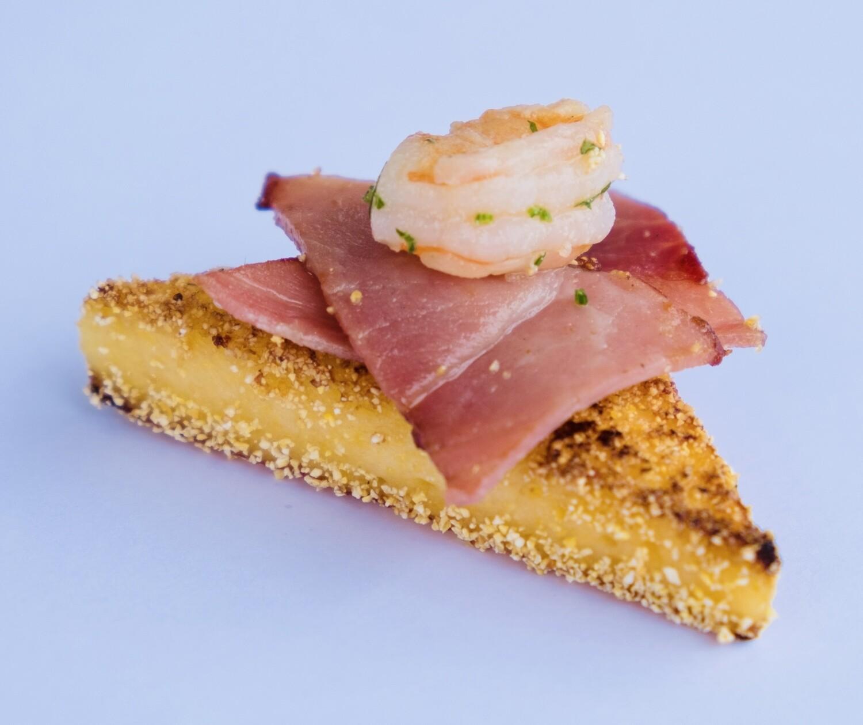 Prosciutto, Garlic Shrimp On Polenta Cake (20) - GF