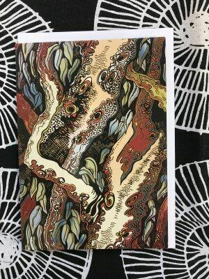 'Rivergums' greeting card by Pauline Clack