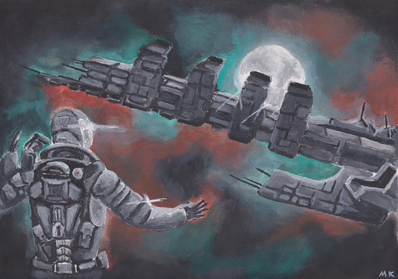 Leviathan Adrift A4 | A3 Acrylic Painting - Digital Reprint