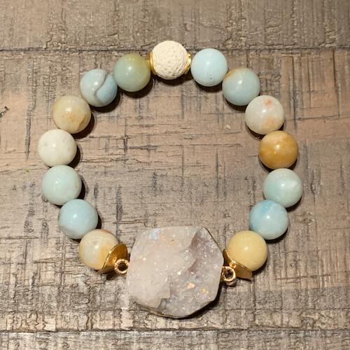 Amazonite & Druzy Pendant Bracelet