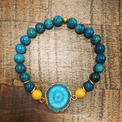 Apatite Beads & Druzy Pendant Bracelet